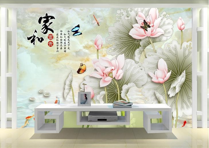Tranh 3D hoa sen - hoa mẫu đơn